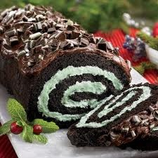 Chocolate and mint cake roll, looks so good