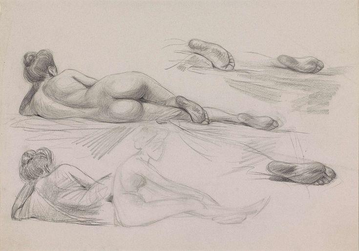 Jan Kuyper | Schetsblad met studies van een naakte vrouw, met opgestoken haar, Jan Kuyper, 1855 - 1912 |