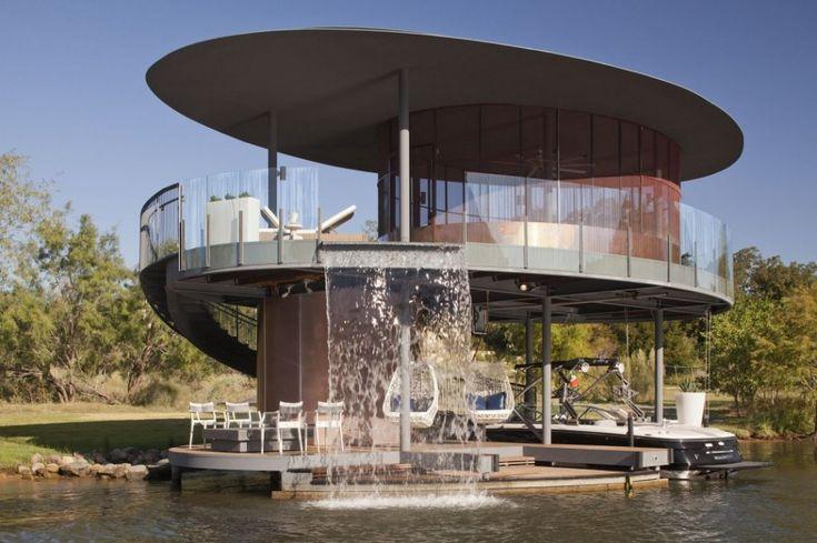 Luxury Homes Floating in a Unique Form: Shore Vista, Boat Dock, Boats, Vista Boat, Lake, Bercy Chen, House, Design