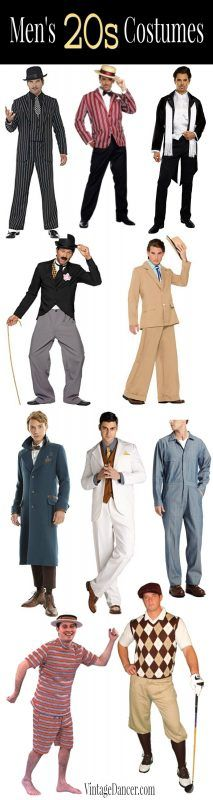 20s mens costumes ideas: gangster, boater, Great Gatsby, Charlie Chaplain, Newt Scamander, mechanic, swimmer, golfer, Old Hollywood star