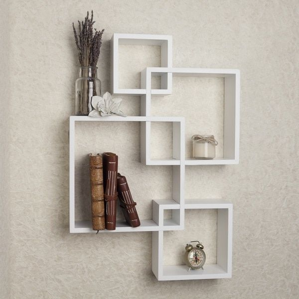 Danya B White Laminate Intersecting Cube Shelves