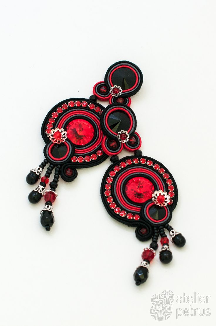 Black cherry - - handmade soutache earrings with swarovski elements