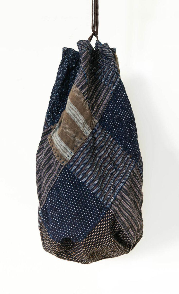 Recycled rice bag purse - Blue And Brown Kasuri And Striped Komebukuro Rice Bagsjapanese