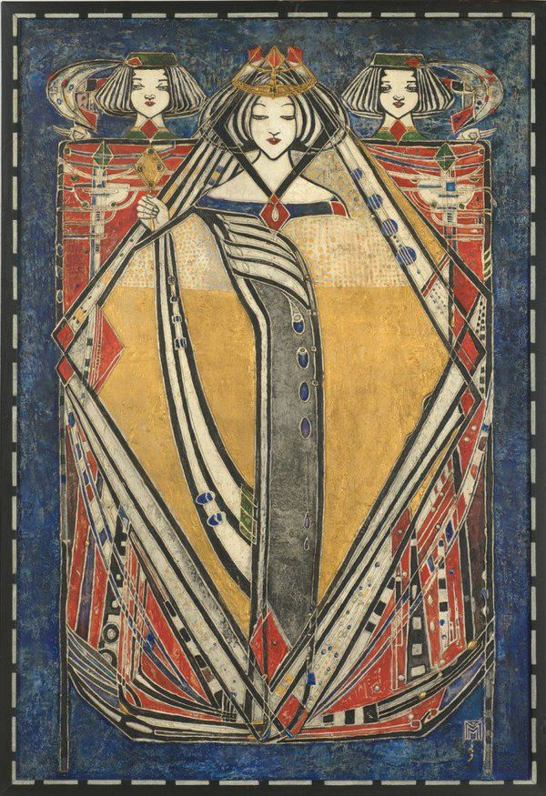 """Queen of Diamonds (1909) by Margaret Macdonald Mackintosh, one of the defining artists of the """"Glasgow Style"""""""