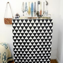Tips on making a geometric dresser with Mod Podge and paint! Upcycle that old boring furniture into something worth keeping!