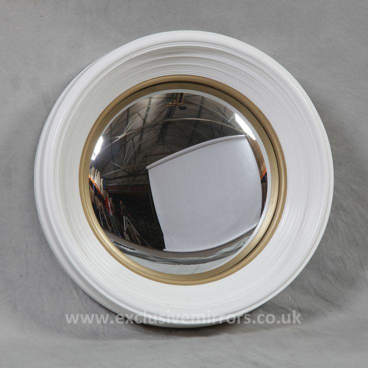 Medium convex mirror white frame finish home decor for Convex mirror for home