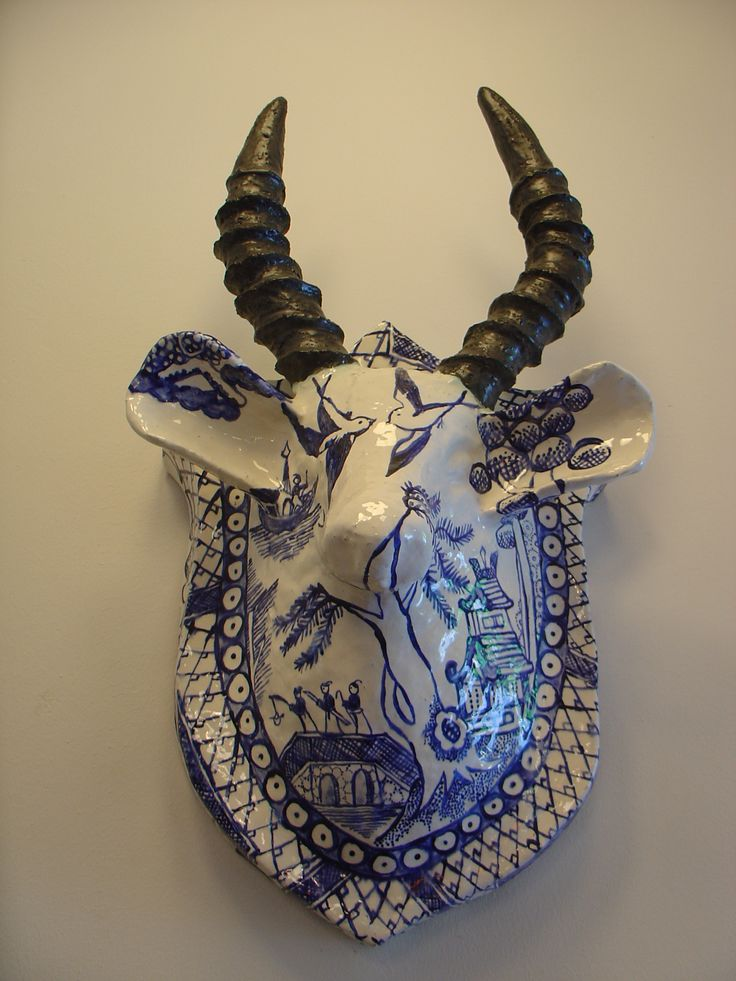 Beautiful mix of South Africa - the buck the delft and the shweshwe motifs - by Shirley Fintz