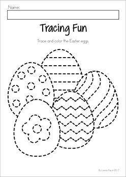 Easter Preschool No Prep Worksheets & Activities. Easter egg tracing and coloring page.