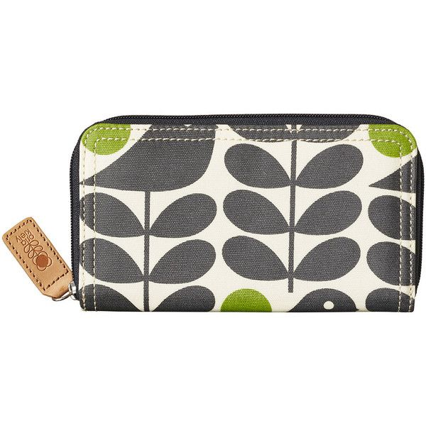 Orla Kiely Early Bird Big Zip Purse - Granite ($94) ❤ liked on Polyvore featuring bags, wallets, black, leather coin bag, leather coin wallet, zipper wallet, 100 leather wallet and orla kiely wallet