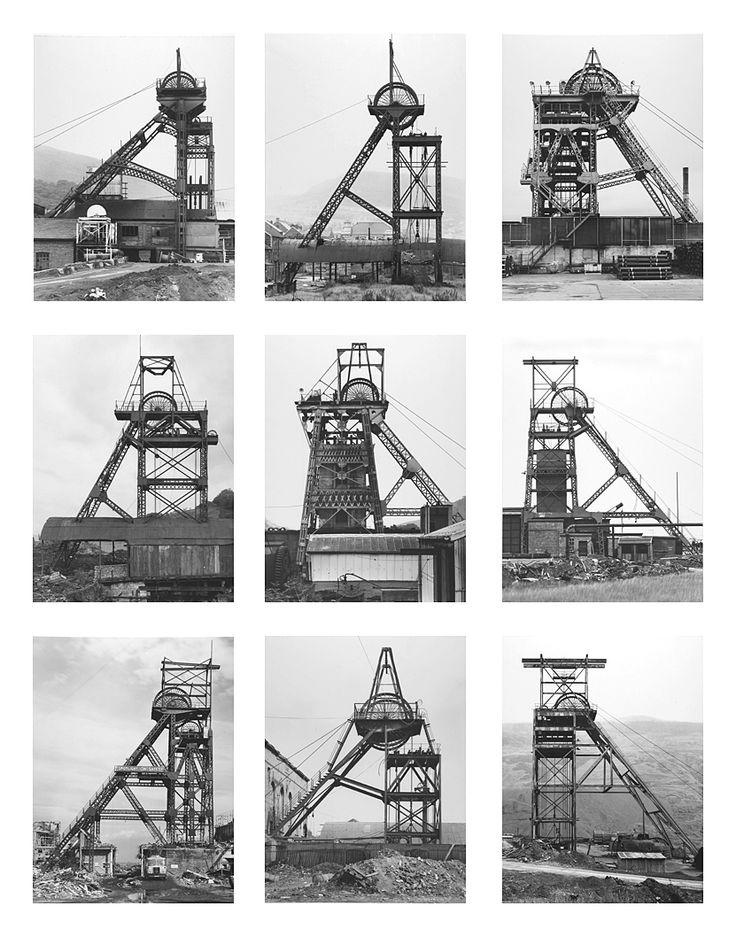 Bernd et Hilla Becher sont un couple de photographes allemands qui depuis les années 50 photographient des bâtiments industriels comme des puits de mines, des chateaux d'eaux, des usines ou des silos à grains.  Leur particularité est de toujours les photographier avec la même lumière, le même cadrage et la même technique de façon a créer des typologies de ces constructions qui mettent en valeur à la fois leurs points communs et leurs différences.