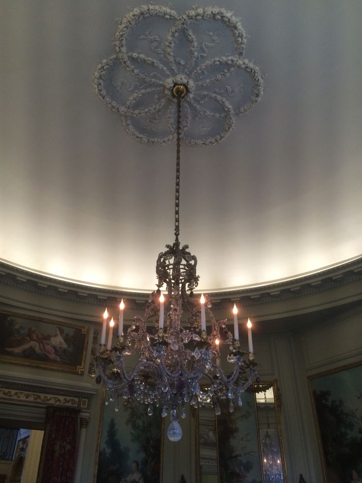 Ceiling rose frames the pendant light in Versailles! Take inspiration from the surroundings not just the light itself.