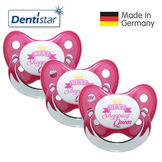 Dentistar® Schnuller 3er Set- Nuckel Silikon in Größe 2, 6-14 Monate - zahnfreundlich & kiefergerecht - Beruhigungssauger für Babys - Pink Next Shopping Queen