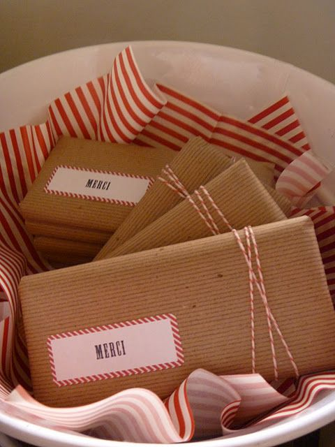 french baby shower favors :: gourmet chocolate bars wrapped with butcher paper and tied with bakers twine