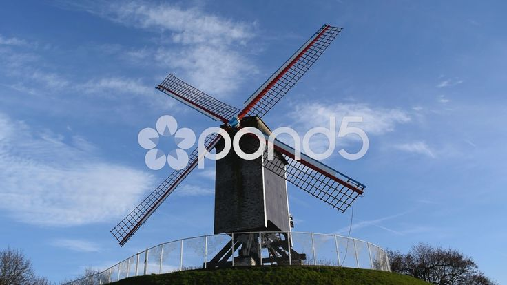 Windmill in Bruges, Belgium - Stock Footage | by glenman77