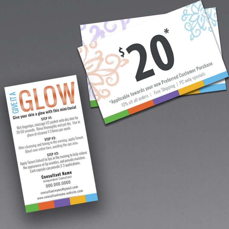 rodan and fields mini facial card, give it a glow card and gift certificate.