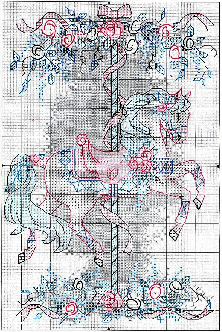 Cross-stitch Carousel Horse, part 3 of 3...  color chart on part 2