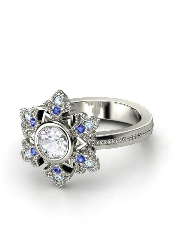 Round White Sapphire Platinum Ring with Aquamarine & Sapphire - Snowflake Ring | Gemvara