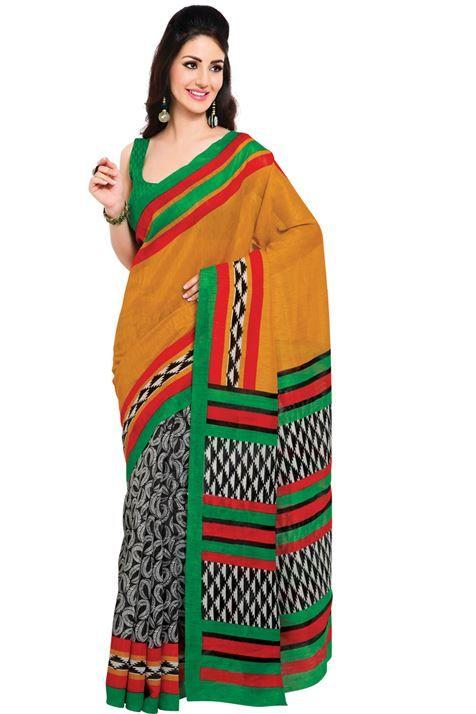 Simple Wear Orange,Black,White Color Printed Silk  Saree