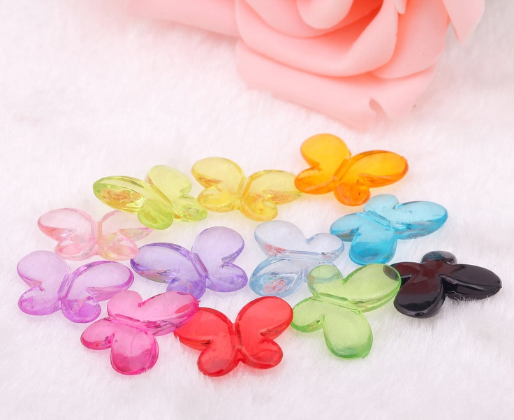 free+shipping+50pcs+mixed+acrylic+cute+butterfly+by+FindingSupply,+$2.88