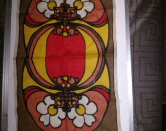 Check out Peter Max  Linen  Table runner Vintage mid-century Modern  on olderoostertradingco