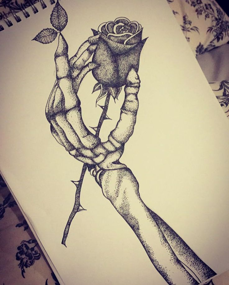 Tattoo design skeleton hand and rose sketch black for Hand holding a rose drawing