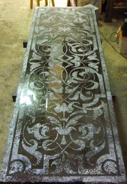 .Lots of beautiful stencil projects on this link. luv stencil projects-rugs, pillows... everything, can really pull a room together. Like this idea for my glass table outside