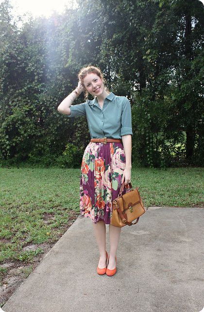 good combo for this skirt     by Feathers, via Flickr