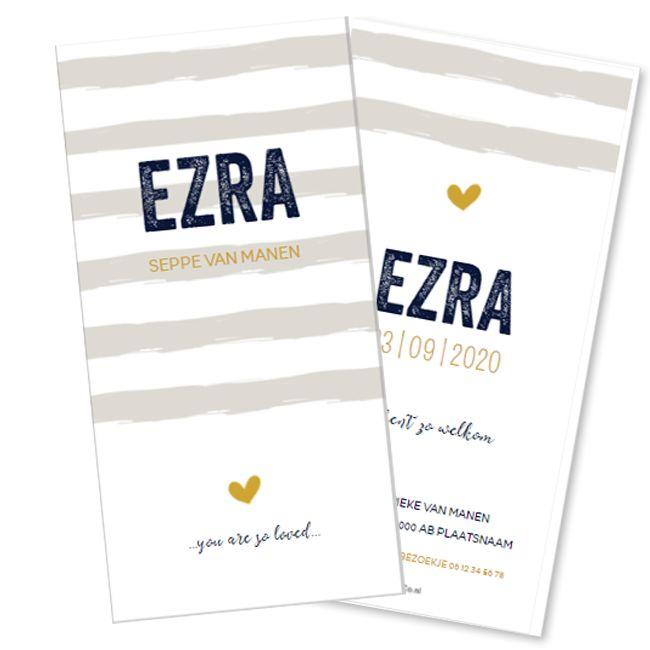Jongens geboortekaartje met grijze strepen en een geel hartje
