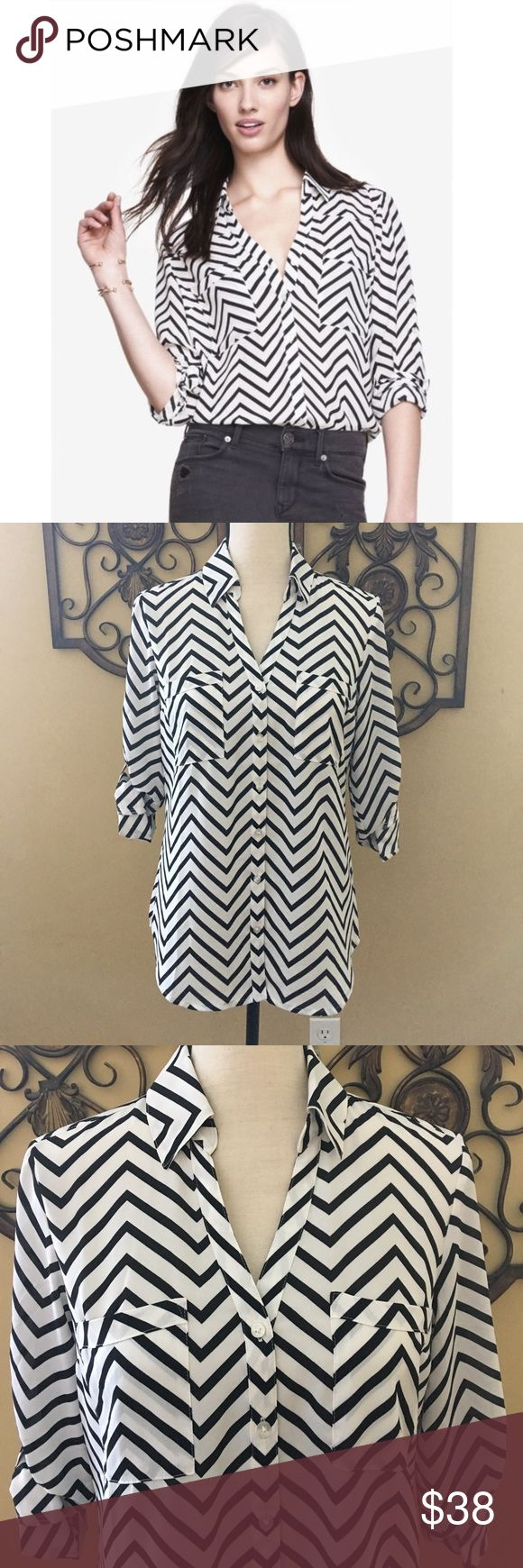 NWT! Express Portofino Chevron Shirt in Size S NWT! Express Black & White Chevron Roll Sleeve Portofino Shirt. Tucks Perfectly into a pencil skirt or pants for any season . 100% Polyester. Size S Express Tops Blouses