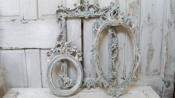Shabby chic soft blue frame grouping set distressed with white and touches of gold anita spero Set of 3