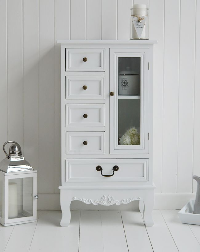 The Lyon white hall storage cupboard with drawers. White hallway furniture from the White Lighthouse