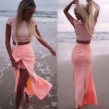 New Stylish Lady Women's Sleeveless O-neck Party Cocktail Skirt And Top Set Dress