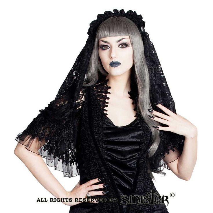 Sinister Eleanora kanten sluier met hoofd accessoire en fluwelen strik