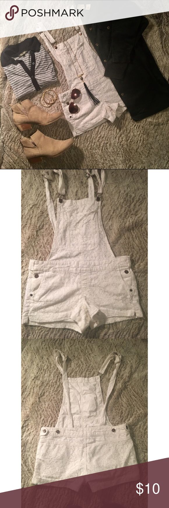 ✨white lace overall shorts✨ ✨white lace overalls ✨ pretty short shorts so i wear a oversized shirts over them ✨adorable over a swimsuit at the beach Indigo Rein Shorts Jean Shorts