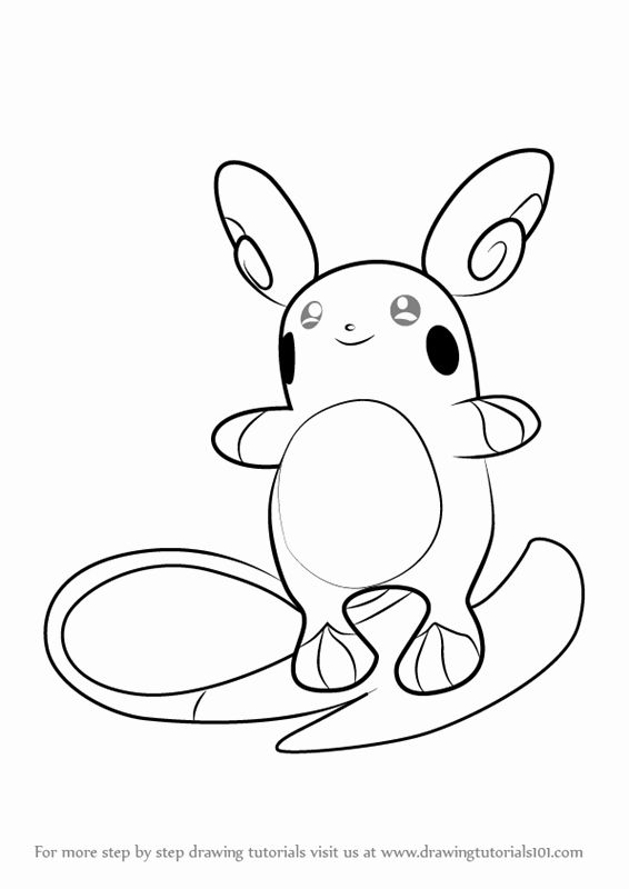 Alolan Raichu Coloring Page Inspirational Step By Step How To Draw A A Raichu From Pokemon Sun And Bat Coloring Pages Bear Coloring Pages Flag Coloring Pages