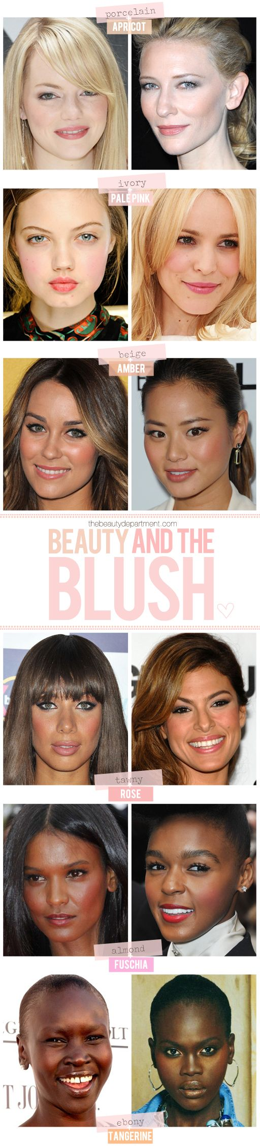 A go-to guide for flattering blush tones.: Beautiful Department, Blushes Shades, Fair Skin, Skin Tones, Blushes Tones, Pale Pink, Eye Make Up, Flatter Blushes, Skin Color