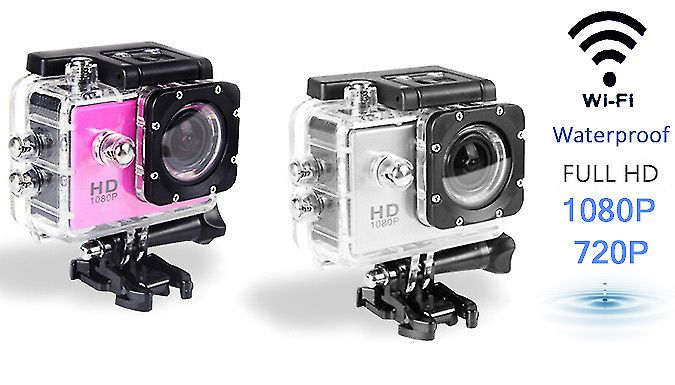 Waterproof AdventurePro Sports Camera - 2 Colours Document those daring moments with the Waterproof AdventurePro Sports Camera      720p models available with 8GB SD card      1080p models available with Wi-Fi connectivity      Perfect for recording underwater and on-land action adventures      Available in pink or silver      Choose between 720P and 1080P resolution models      Waterproof...