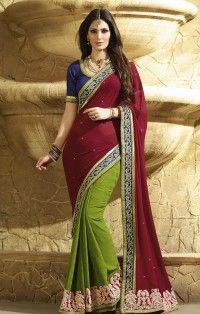 gratifying-maroon-green-georgette-haif-n-half-wedding-wear-saree-800x1100.jpg