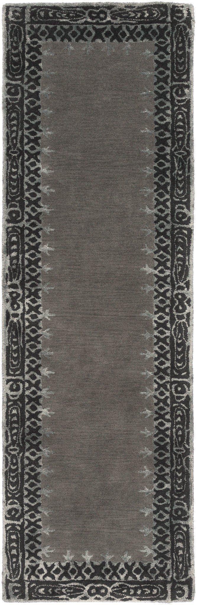 Surya Henna HEN1009 Grey/Black Floral and Paisley Area Rug