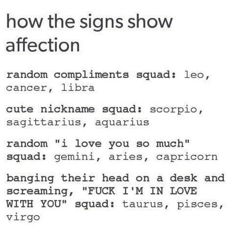 How the signs show affection