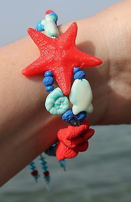 Bracelet & Earrings / Summer Jewelry / Starfish / Handmade Polymer Clay