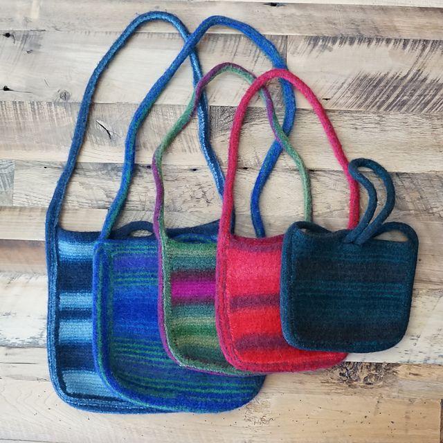 Bag Felted Knit Pattern Tote - Soft Leather Shoulder Bags