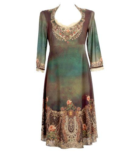 Michal Negrin 3 4 Sleeves Mid-Calf Dress Garnished with Victorian Inspired  Motif on the Hemline and D colletage Line 29b358132