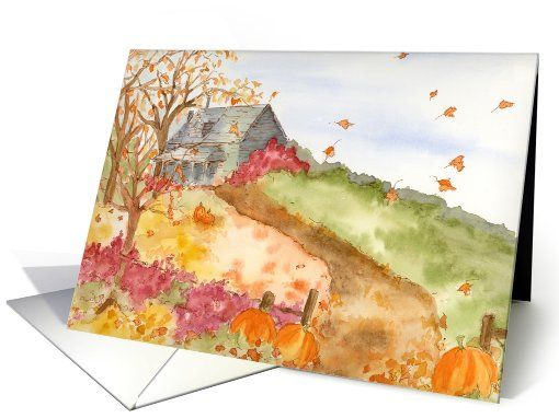 Autumn Home Landscape Watercolor Painting Fine Art Blank card (952627) by Cathie Richardson