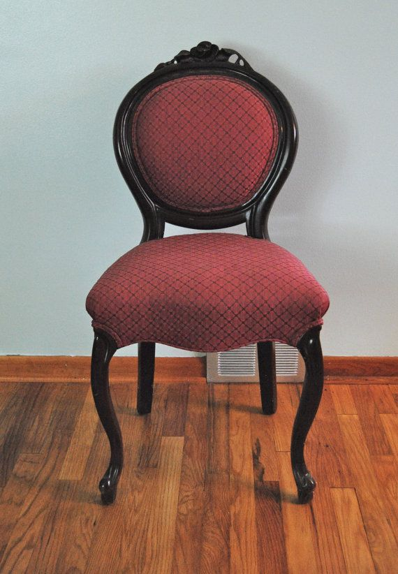 Vintage Upholstered Red Armless Vanity Chair With Engraved Wood Rose Cabriole Leg Red