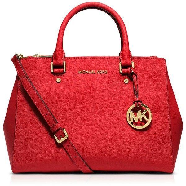 Michael Michael Kors Satchel - Sutton Medium (21,635 INR) ❤ liked on Polyvore featuring bags, handbags, michael kors, red satchel purse, michael michael kors, saffiano leather bag, saffiano leather handbag and red handbags