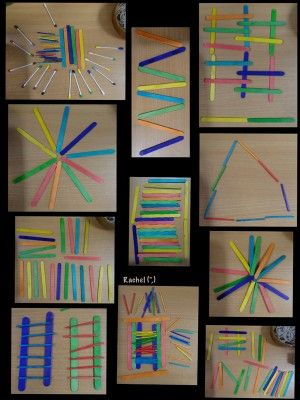"""Patterns with craft sticks, matchsticks and coloured cotton buds from Rachel ("""",)"""