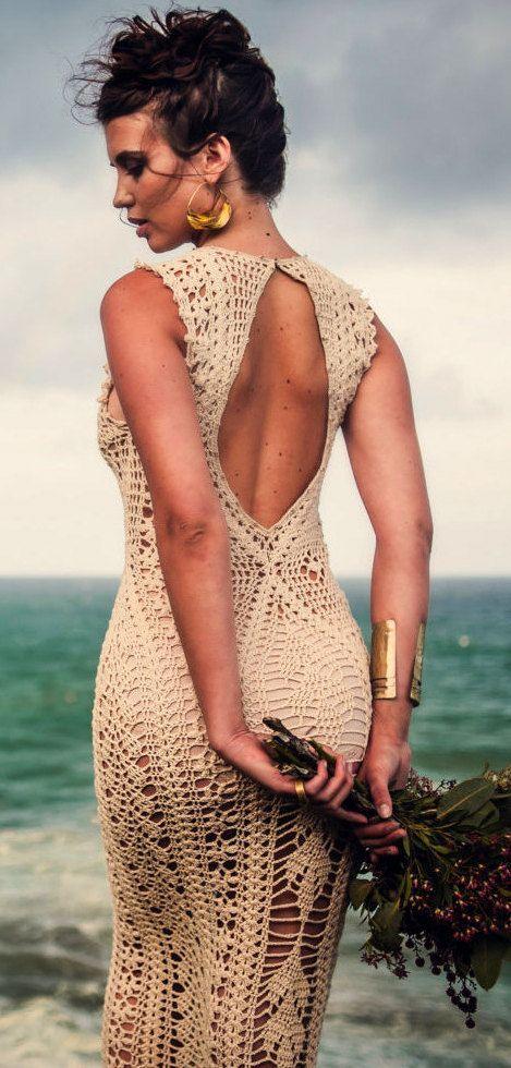 Vestido tejido a crochet maxi backless dress ivory @roressclothes closet ideas…