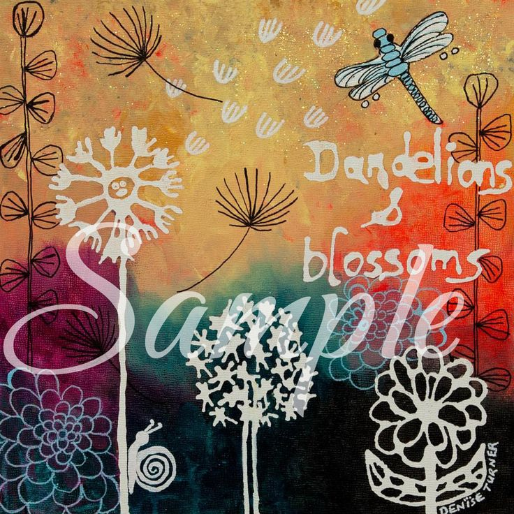 DANDELIONS & BLOSSOMS 10 x 10 Art Print by PositivelyArt on Etsy.Sparkles, dandelions and botanicals in unison make this print a joy to look at for daily gratitude.  www.positivelyart.ca