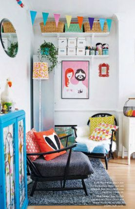 Love the use of color in this sitting room via Mollie Makes Home {Magazine}
